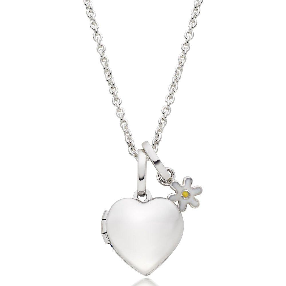 Children's Silver Flower Charm and Heart Locket Pendant