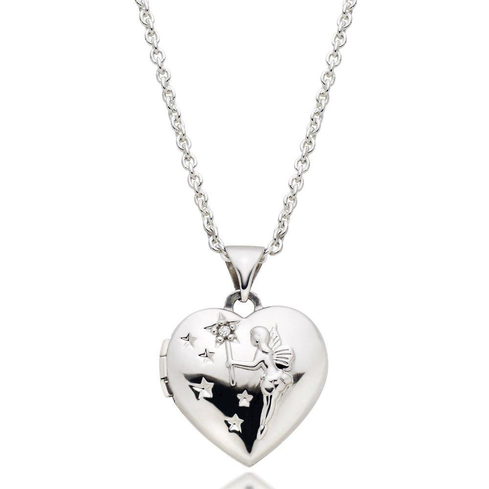 Children's Silver Diamond Heart Fairy Locket Pendant