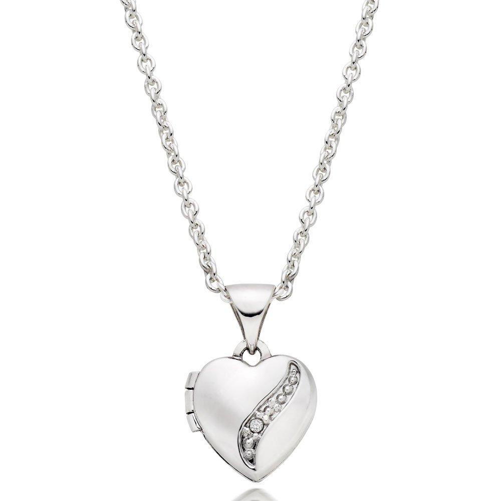 Children's Silver Diamond Heart Locket