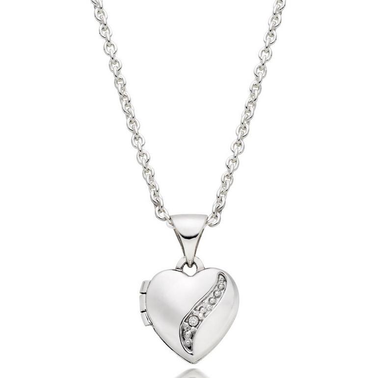 Mini B Silver Diamond Heart Locket