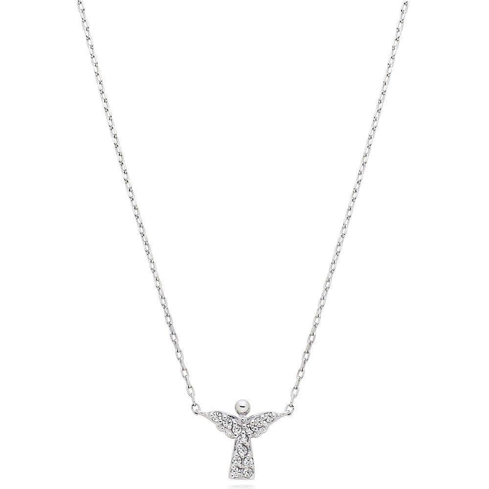 Silver Cubic Zirconia Angel Necklace