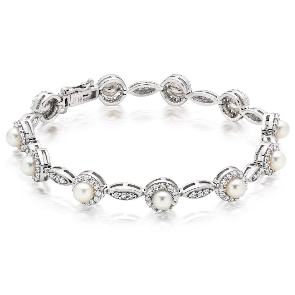 Silver Cubic Zirconia Freshwater Cultured Pearl Bracelet