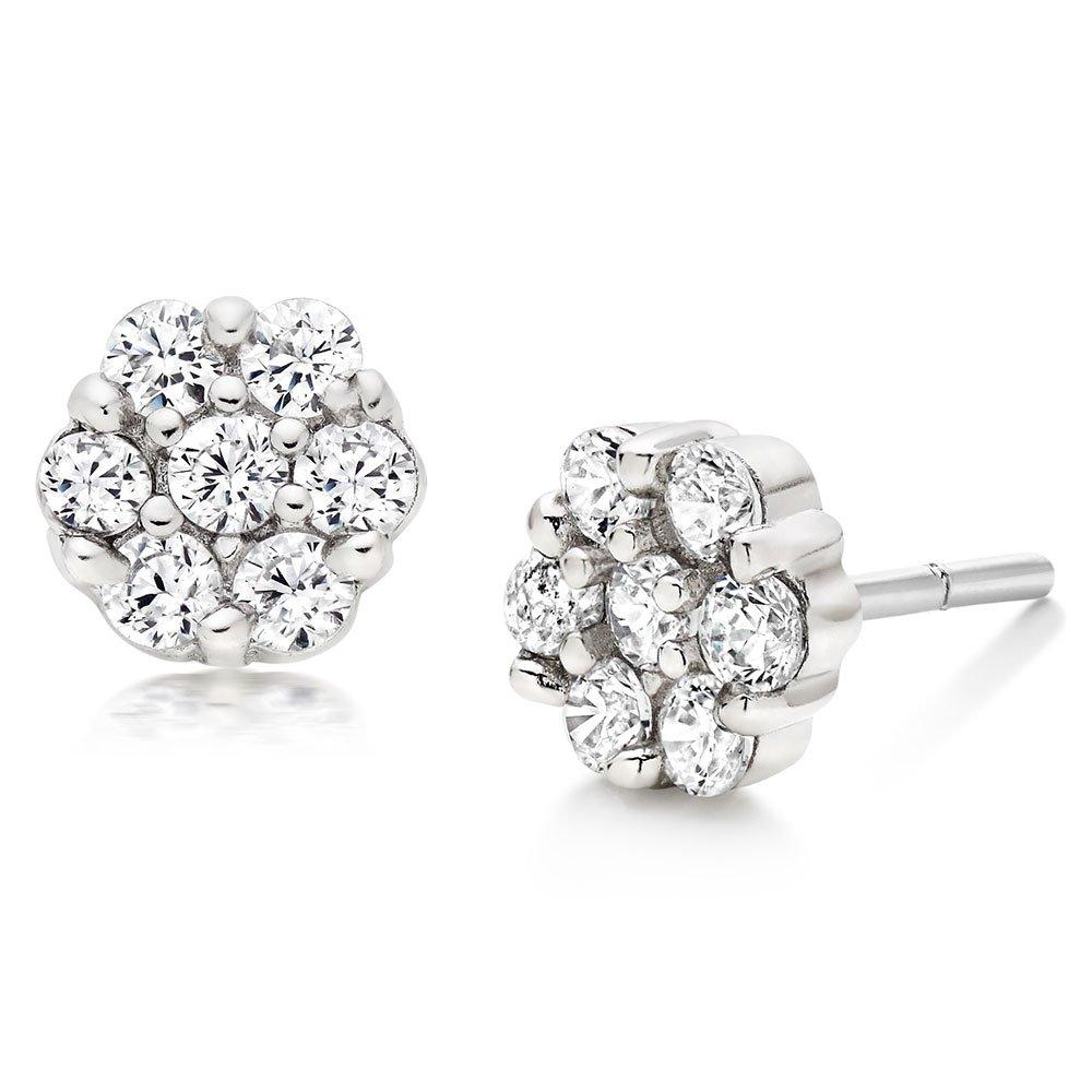 Silver Cubic Zirconia Flower Stud Earrings