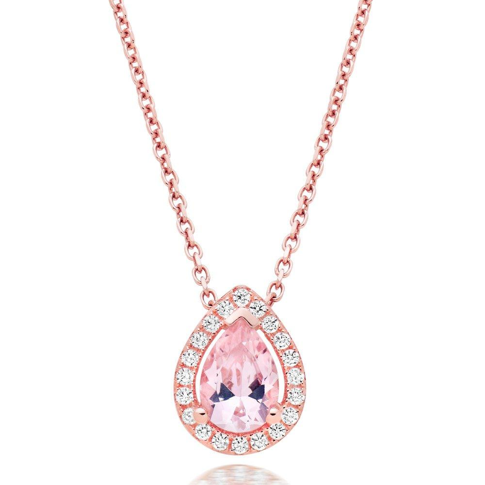 Silver Rose Gold Plated Synthetic Morganite and Cubic Zirconia Pendant