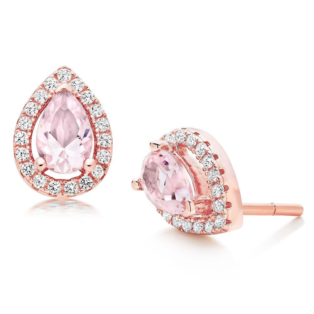 Silver Rose Gold Plated Synthetic Morganite and Cubic Zirconia Stud Earrings