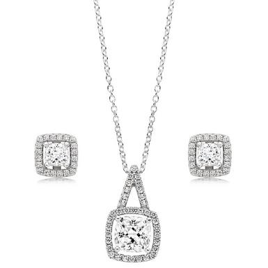Silver Cubic Zirconia Square Halo Pendant and Earrings Set