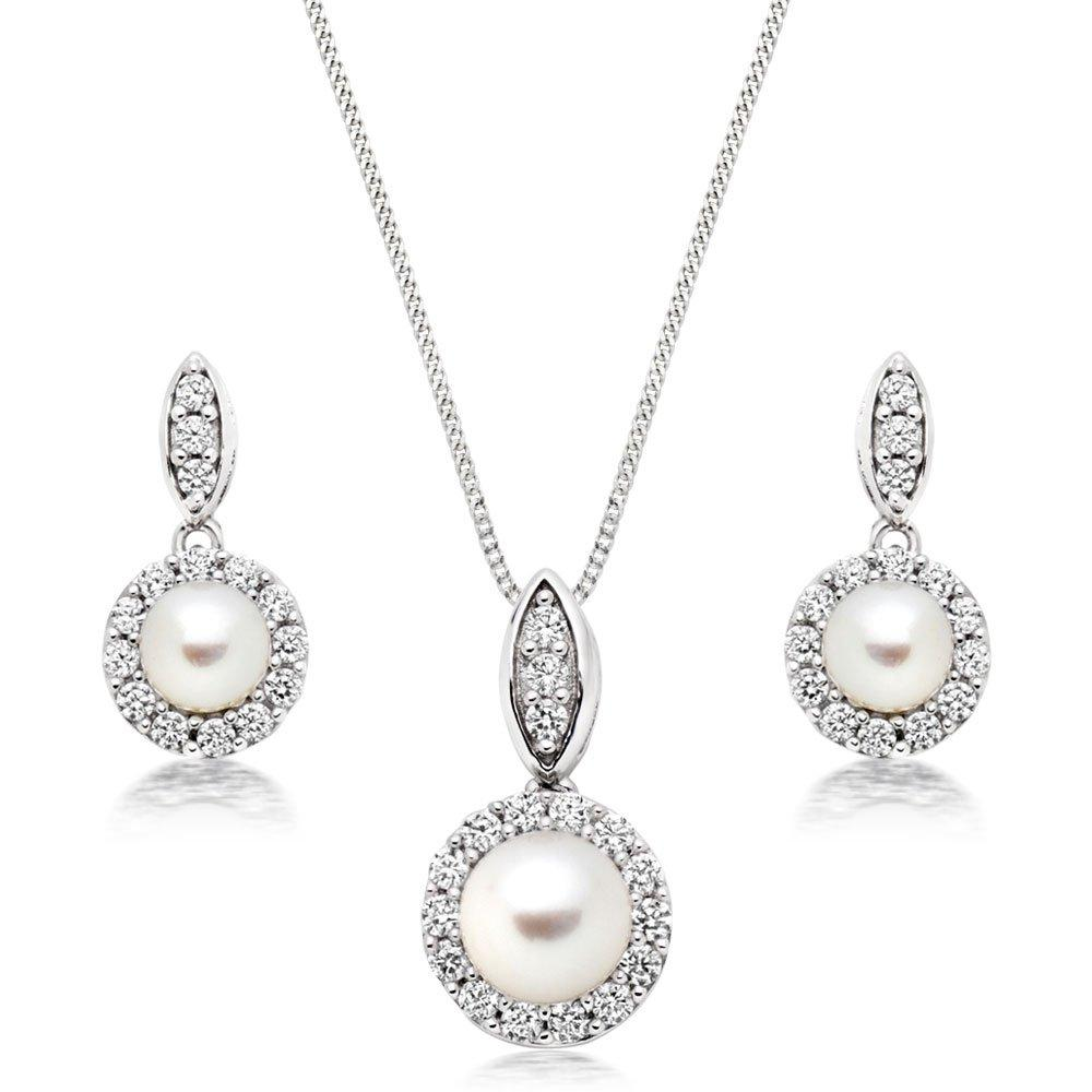 Silver Pearl Cubic Zirconia Pendant and Earrings Set