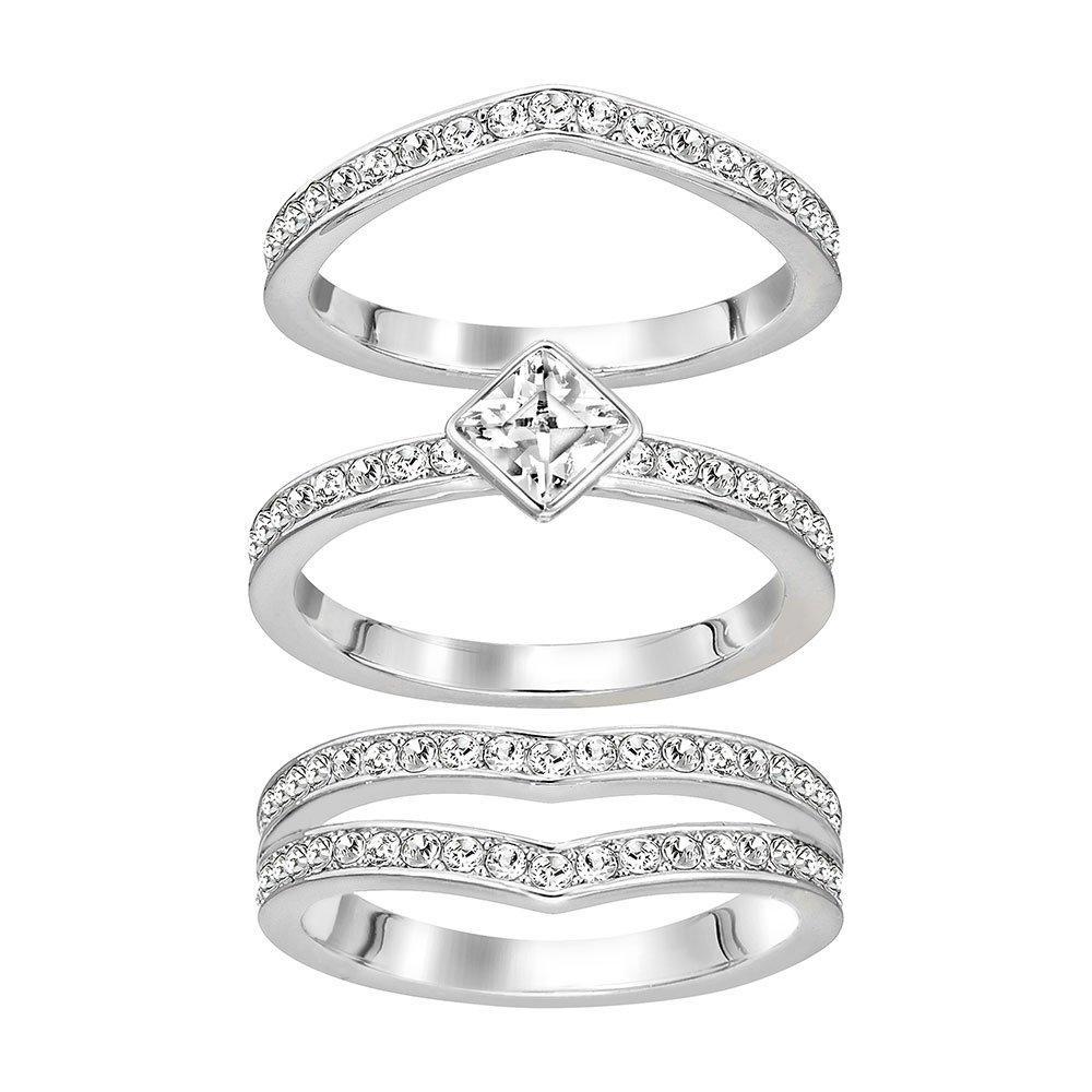 Swarovski Alpha Rhodium Plated Crystal Ring Set