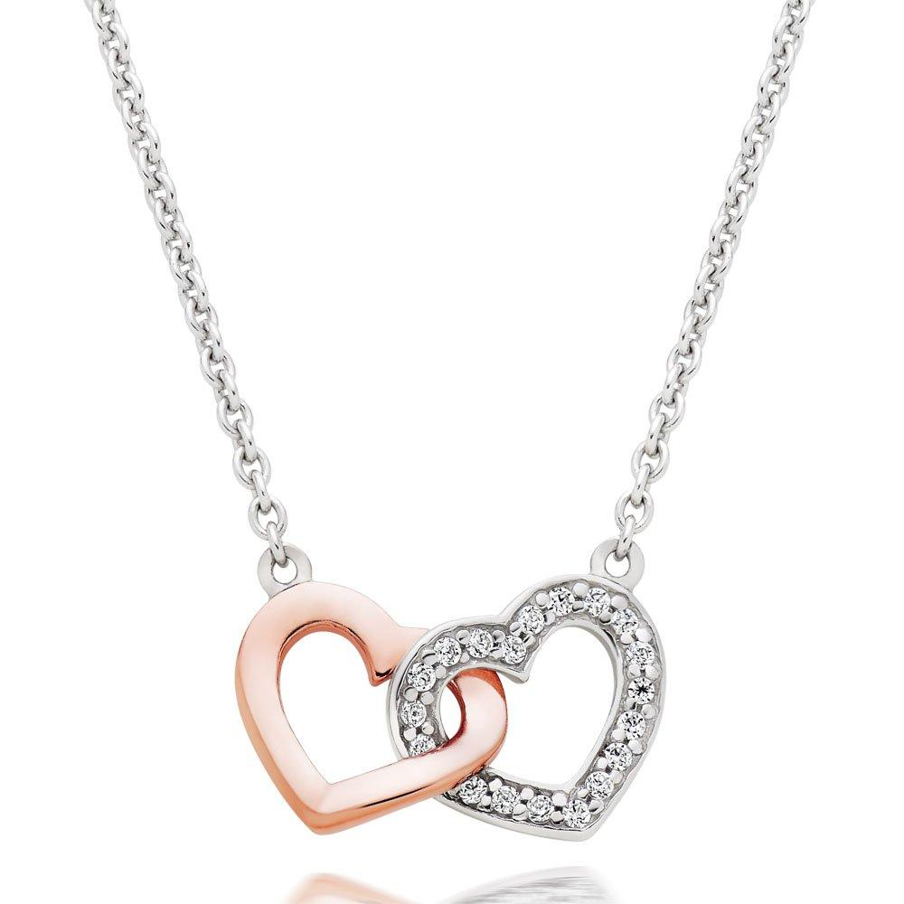 Silver and Rose Gold Plated Cubic Zirconia Double Heart Necklace