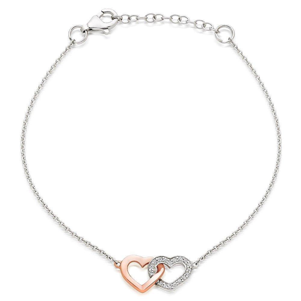 Silver and Rose Gold Plated Cubic Zirconia Double Heart Bracelet