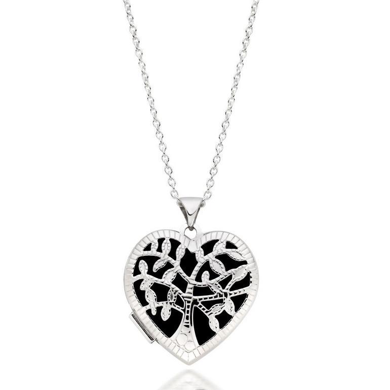 Silver Tree Heart Locket