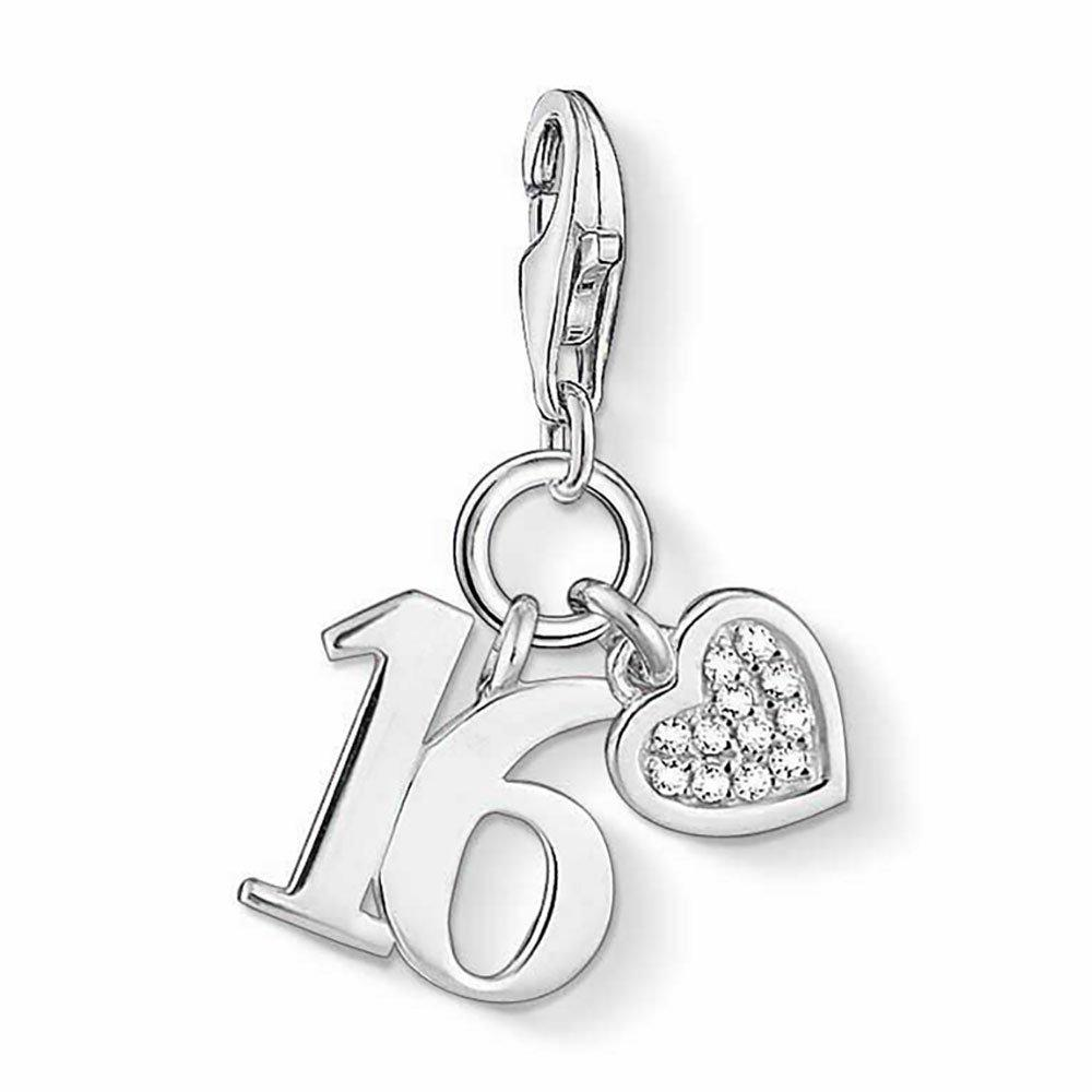 Thomas Sabo Generation Charm Club Silver Cubic Zirconia Lucky Number 16 Charm