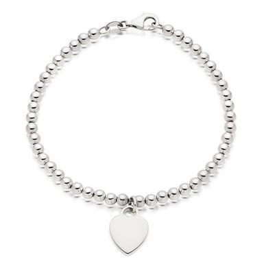 Silver Ball Heart Bracelet