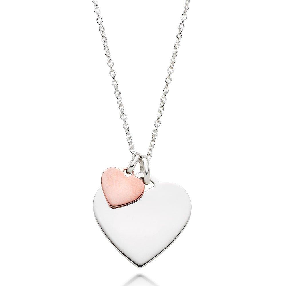 Silver and Rose Gold Plated Double Heart Pendant