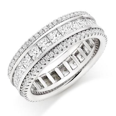 Silver Cubic Zirconia Triple Row Ring