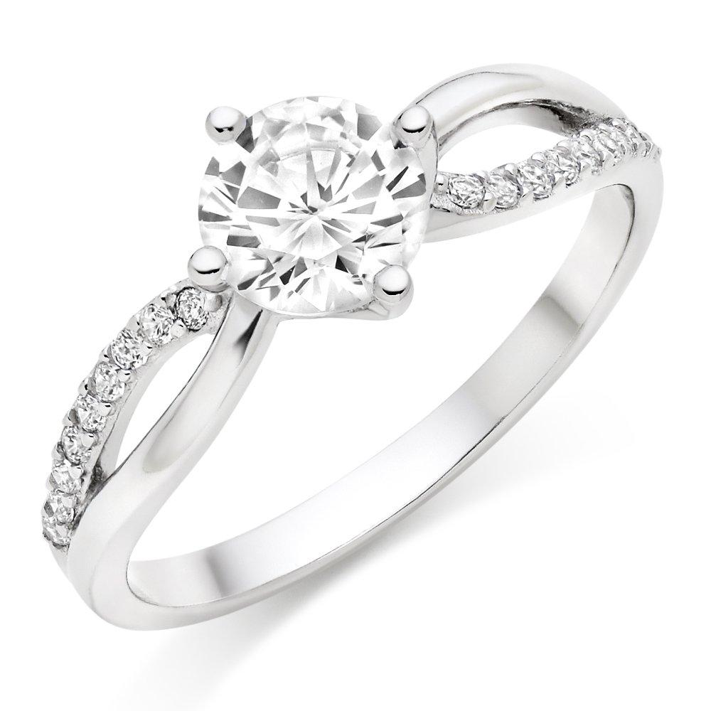 Silver Cubic Zirconia Twist Solitaire Ring