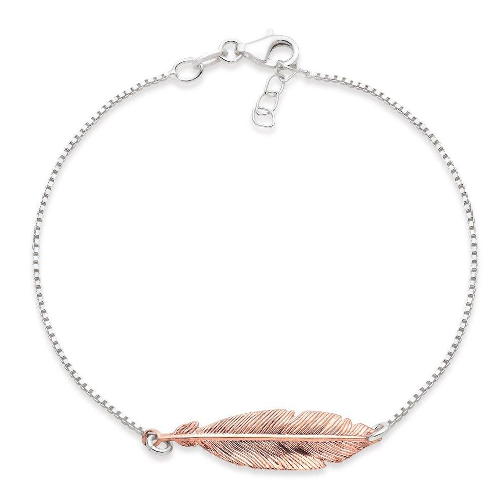 Silver Rose Gold Plated Feather Bracelet