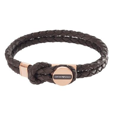 Emporio Armani Leather and Rose Gold Tone Men's Bracelet