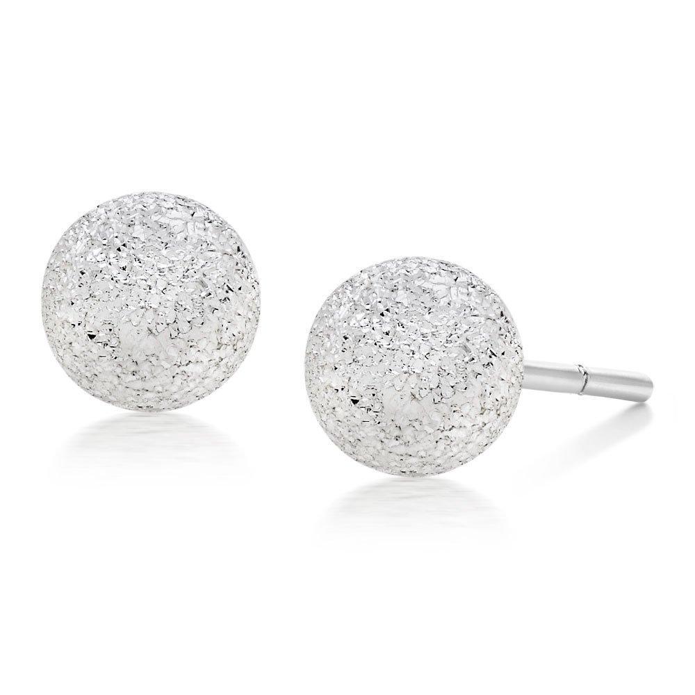 Silver Sparkle Cut Ball Stud Earrings