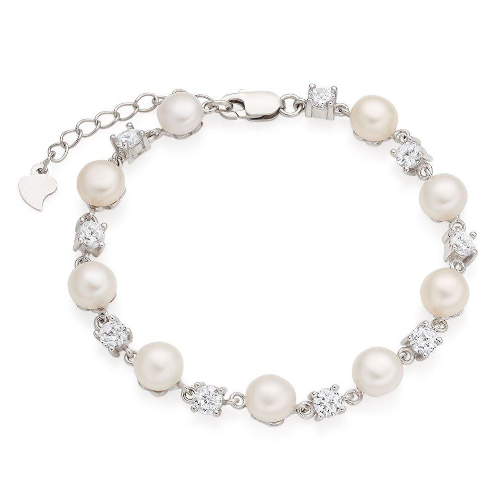 Silver Cubic Zirconia and Freshwater Pearl Bracelet