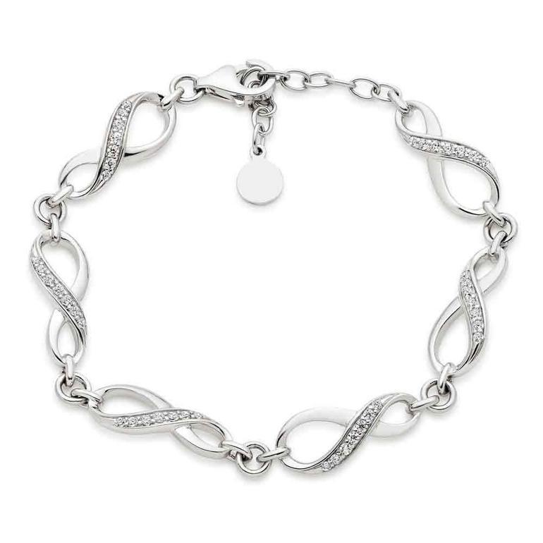 Silver Cubic Zirconia Infinity Bracelet