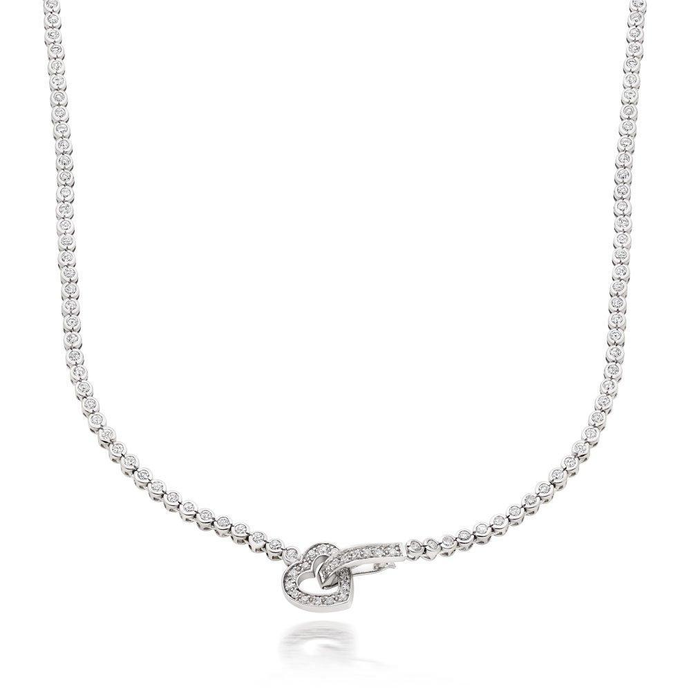 Silver Cubic Zirconia Heart Necklace