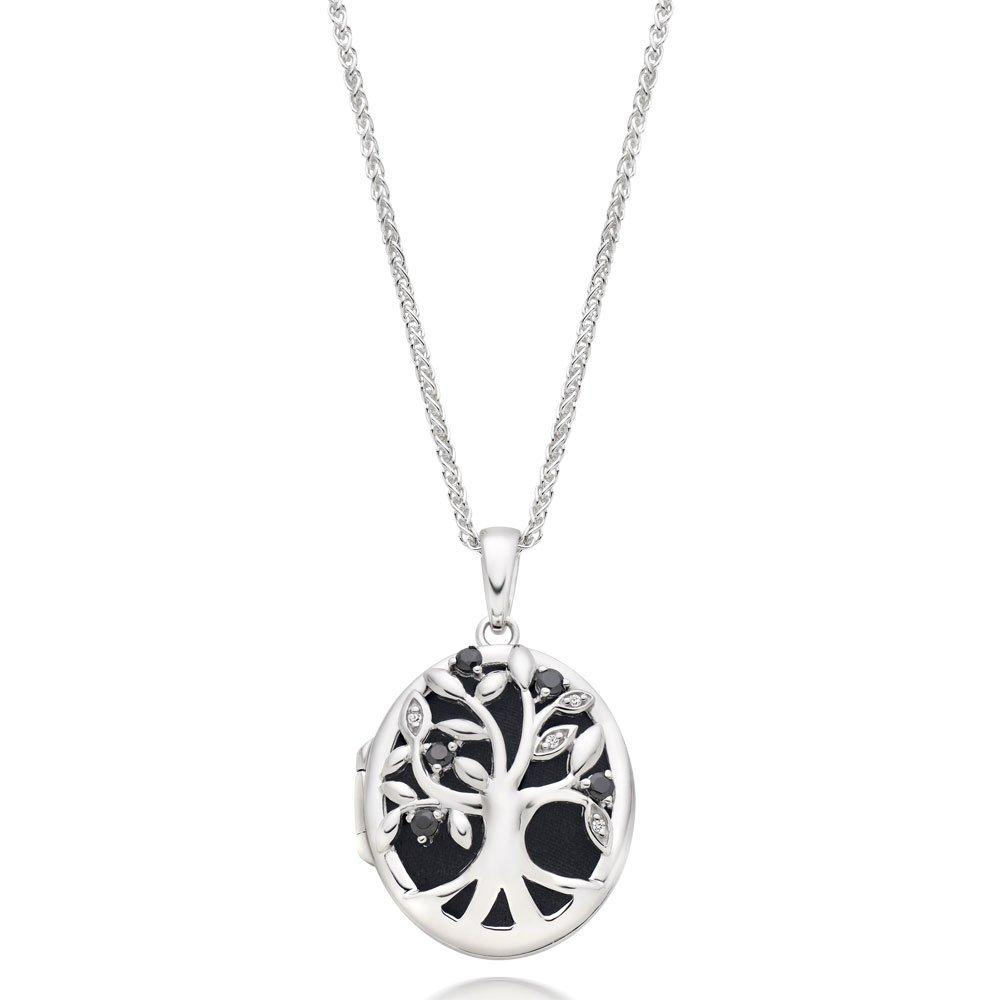 Silver Cubic Zirconia Tree Locket