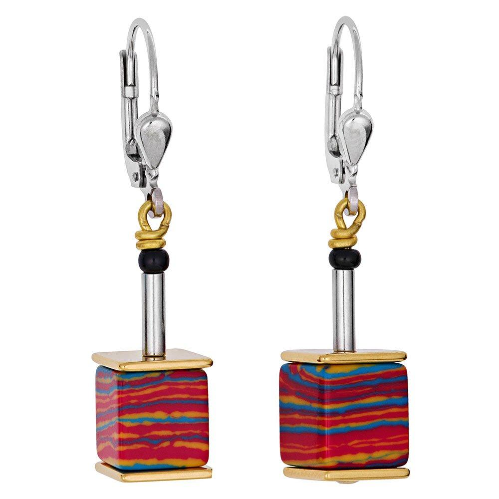 Coeur De Lion Geo Cube Silver and Gold Plated Malachite Earrings