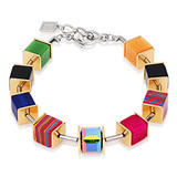 Coeur De Lion Geo Cube Stainless Steel and Gold Plated Crystal Bracelet