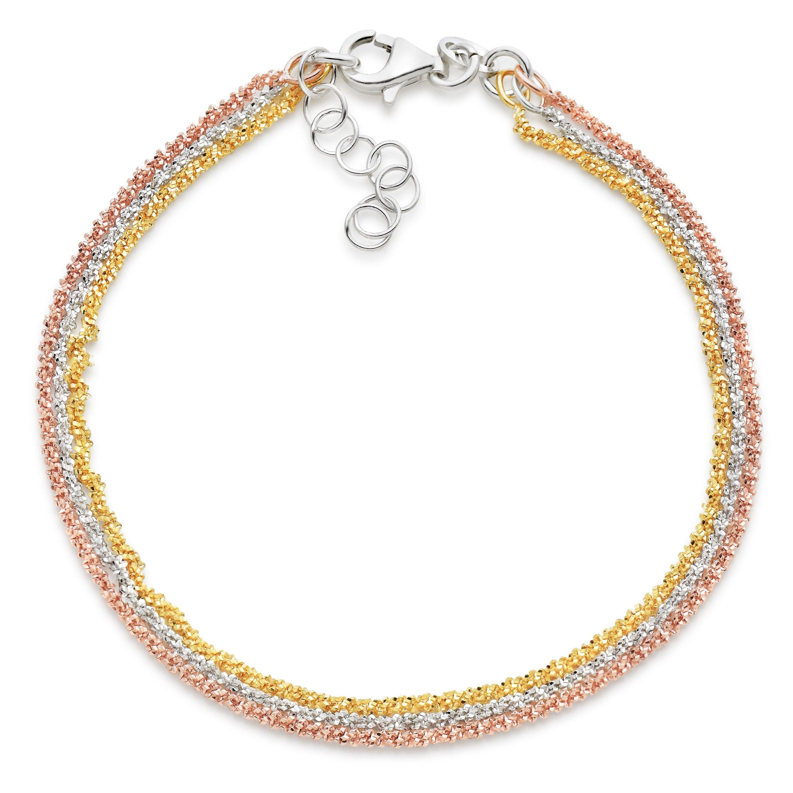 Silver Gold and Rose Gold Plated Three Strand Bracelet