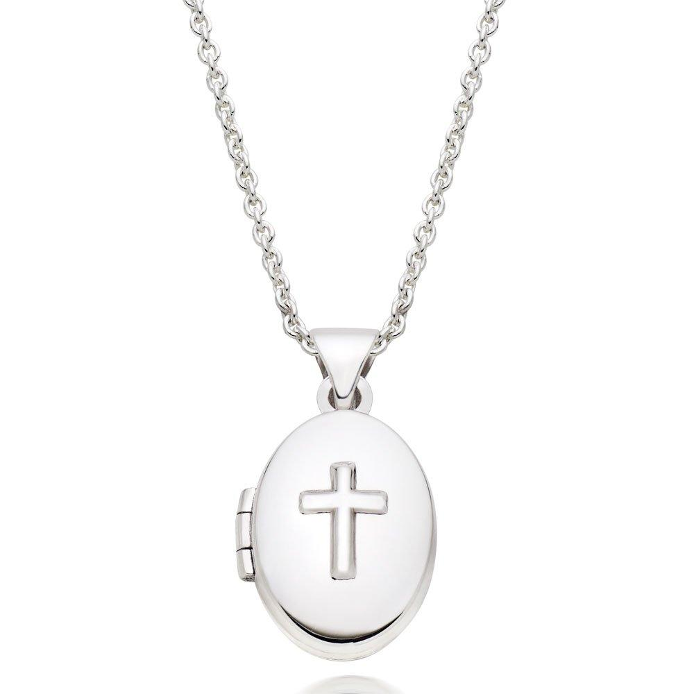 Mini B Silver Cross Locket
