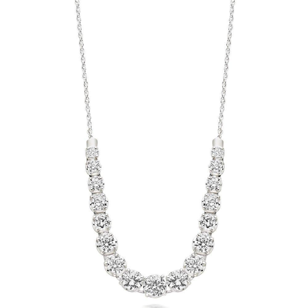 Silver Cubic Zirconia Graduated Necklace