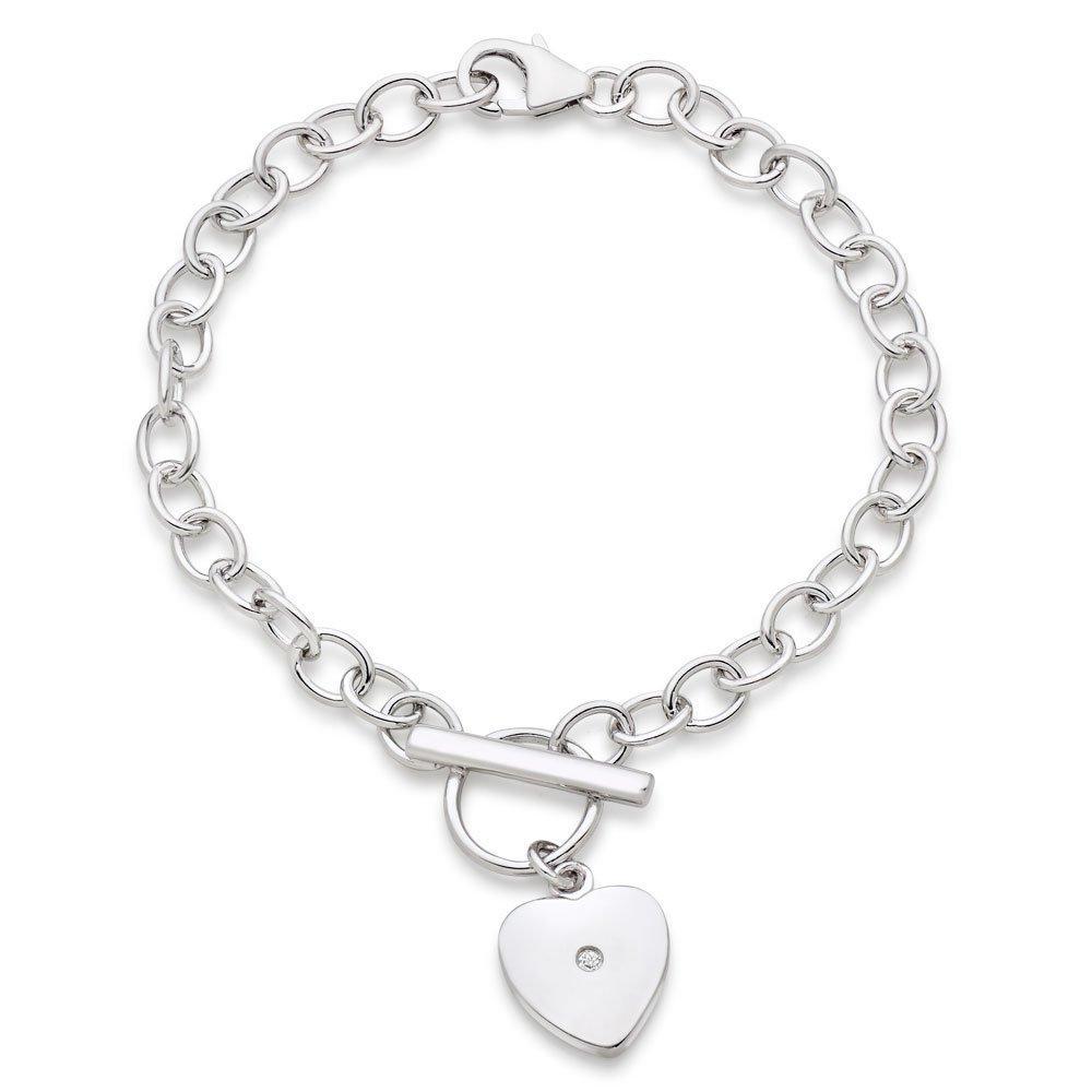 Children's Silver Diamond Heart Bracelet
