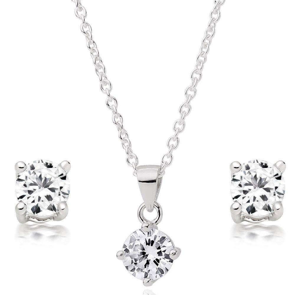 Silver Cubic Zirconia Pendant and Earrings Set