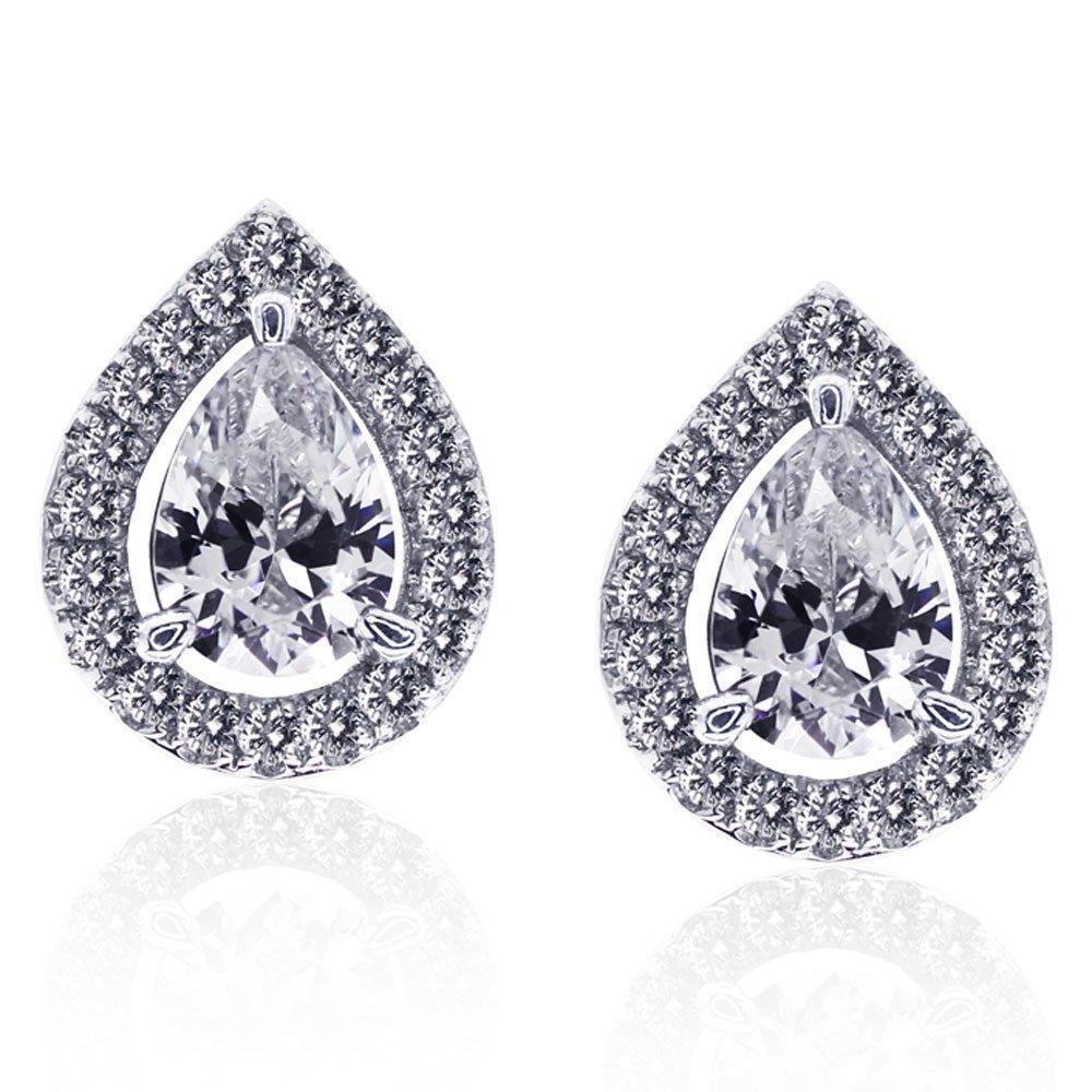 CARAT Silver Pear-Shaped Stud Earrings