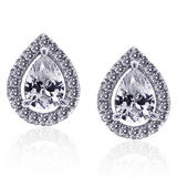 CARAT Silver Pear-Shaped Stud Earrings