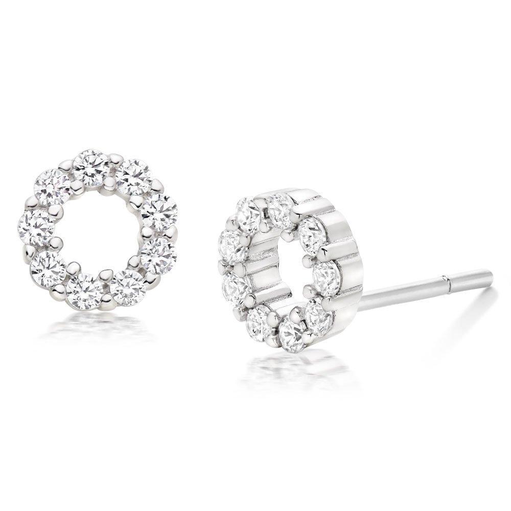 Silver Cubic Zirconia Circle Stud Earrings