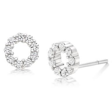 Silver Cubic Zirconia Circle Stud Earrings