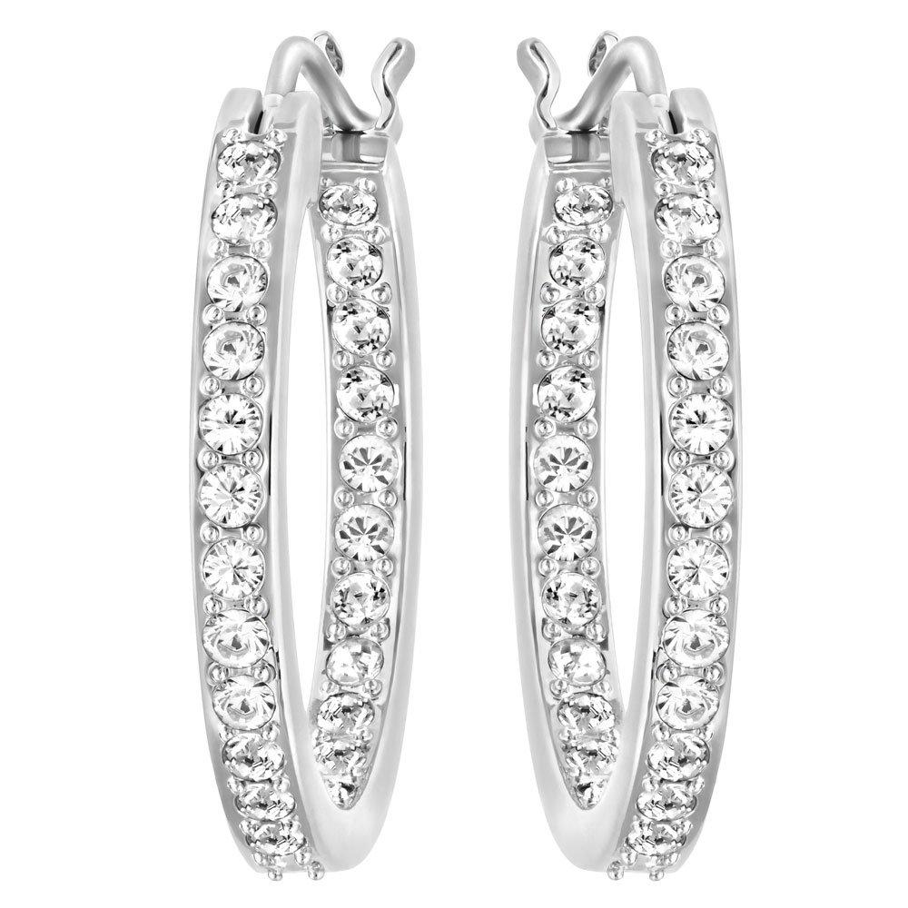Swarovski Summerset Rhodium Plated Crystal Hoop Earrings