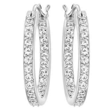 Swarovski Summerset Rhodium Plated Crystal Hoop Earrings
