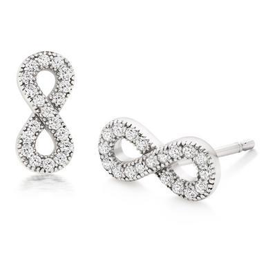 Silver Cubic Zirconia Infinity Stud Earrings