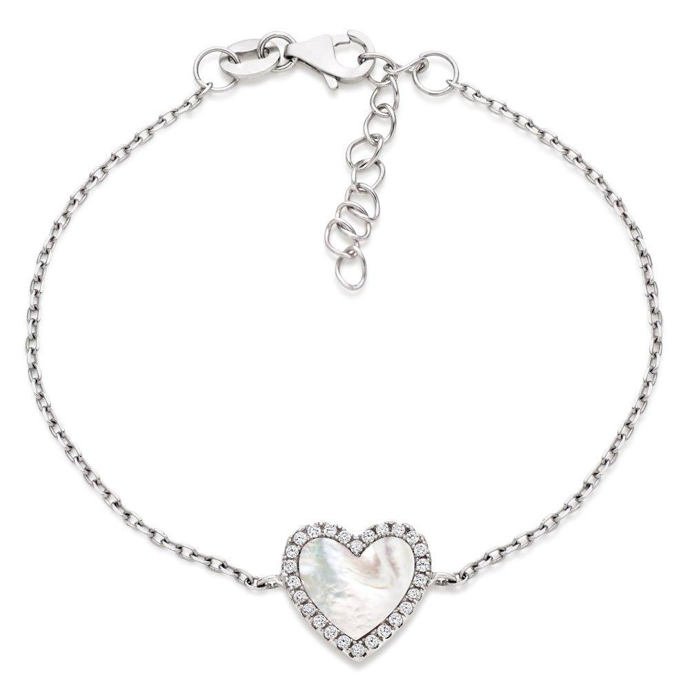 Silver Mother of Pearl and Cubic Zirconia Heart Bracelet