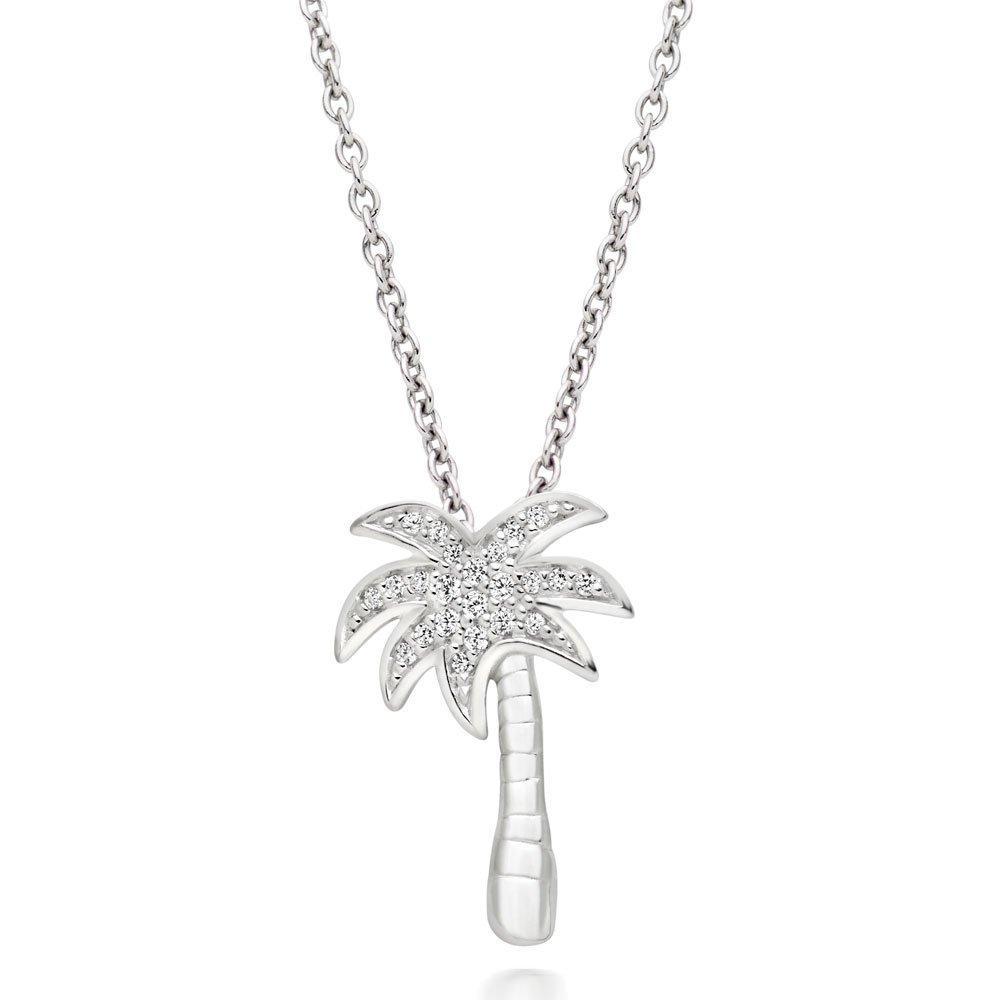 Summer Paradise Silver Cubic Zirconia Palm Tree Pendant