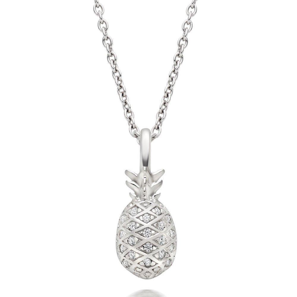 Summer Paradise Silver Cubic Zirconia Pineapple Pendant