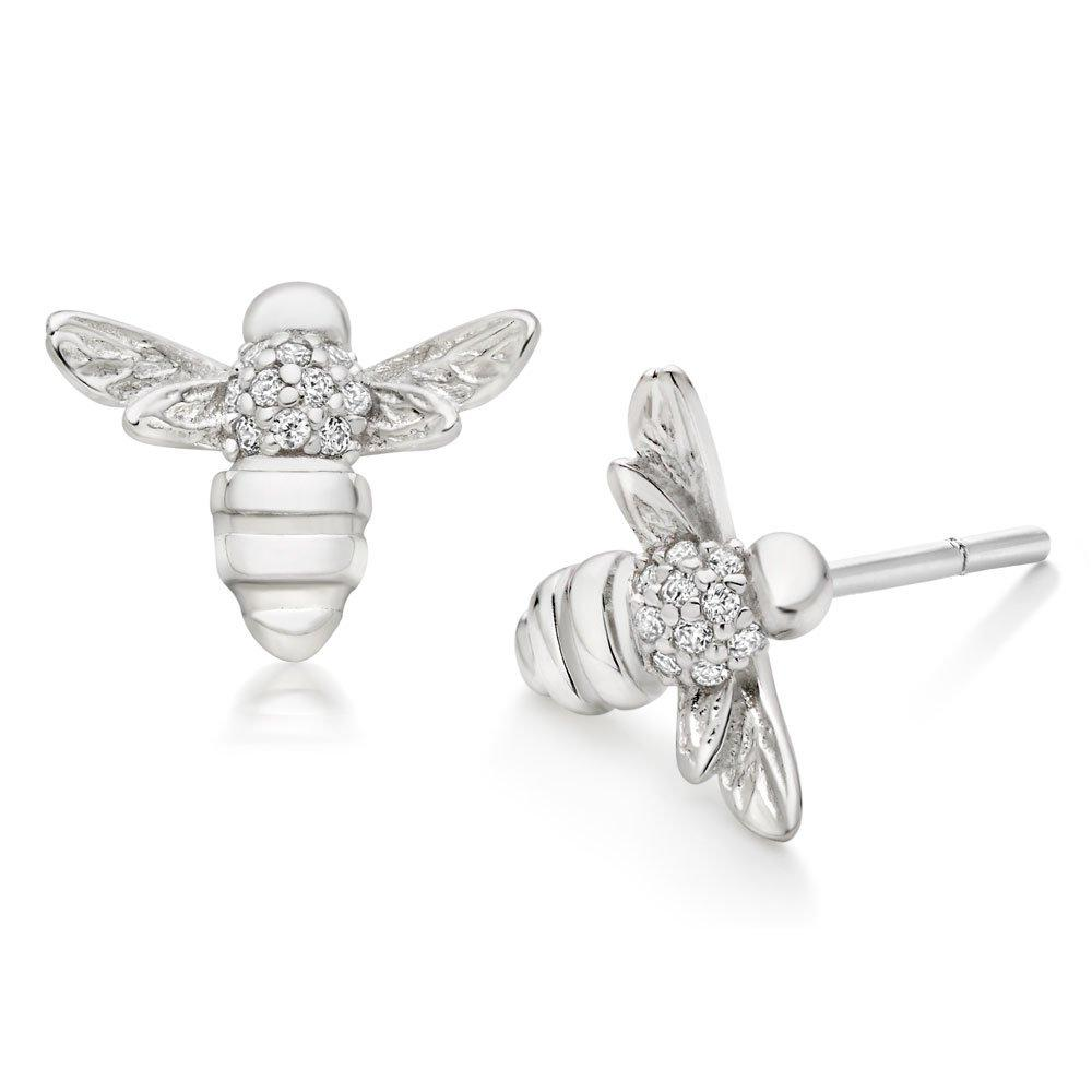 Silver Cubic Zirconia Bumble Bee Stud Earrings