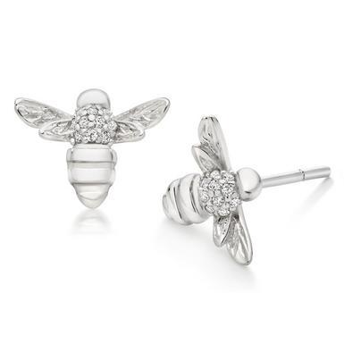 Silver Cubic Zirconia Bumble Bee Stud Earrings