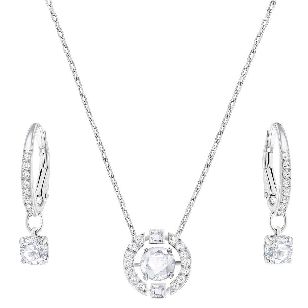 swarovski sparkling dance rhodium plated crystal pendant and earrings set