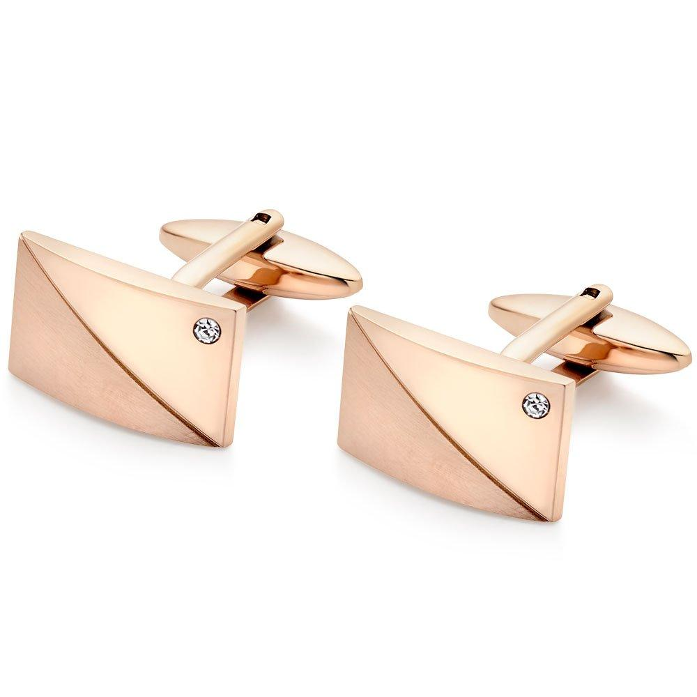 Silver Rose Gold Plated PVD Cubic Zirconia Men's Cufflinks