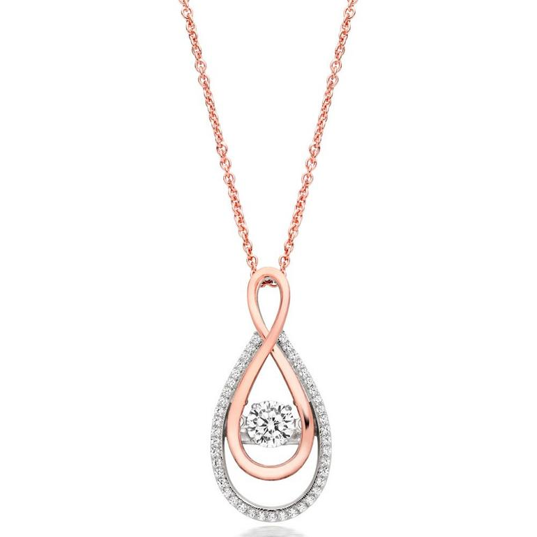 Silver Dance by Beaverbrooks Rose Gold Plated Cubic Zirconia Infinity Pendant
