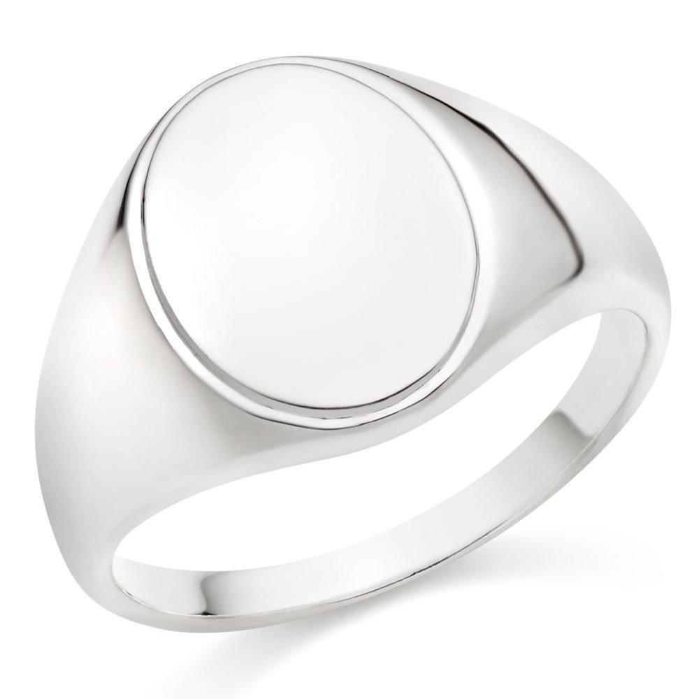 Silver Oval Men's Signet Ring